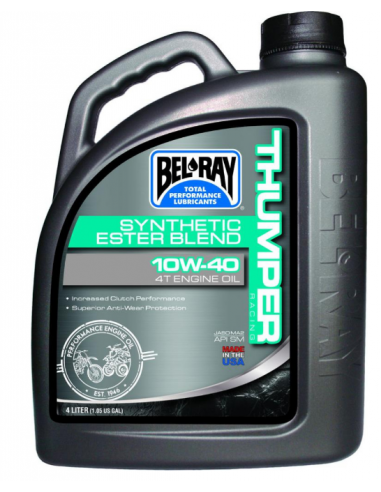 THUMPER RACING SYNTHETIC ESTER BLEND 4-STROKE ENGINE OIL 10W-40 4 LITER BEL RAY