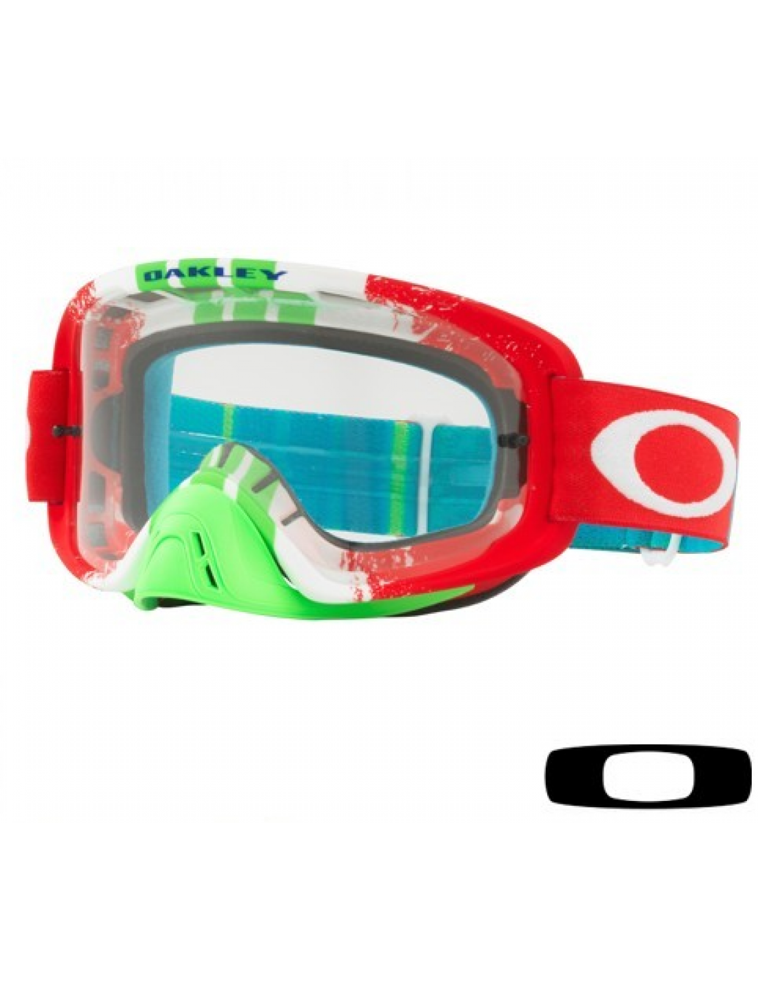Occhiale I Maschera Oakley O2 Mx Pinned Race Rosso Verde